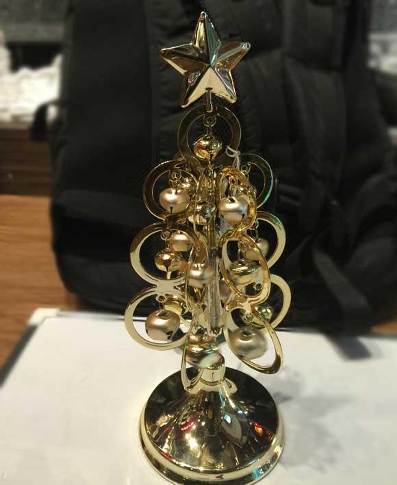 Metal Tabletop Christmas Tree: Gold Color Metal Table Top Christmas Tree With Jingle Bells