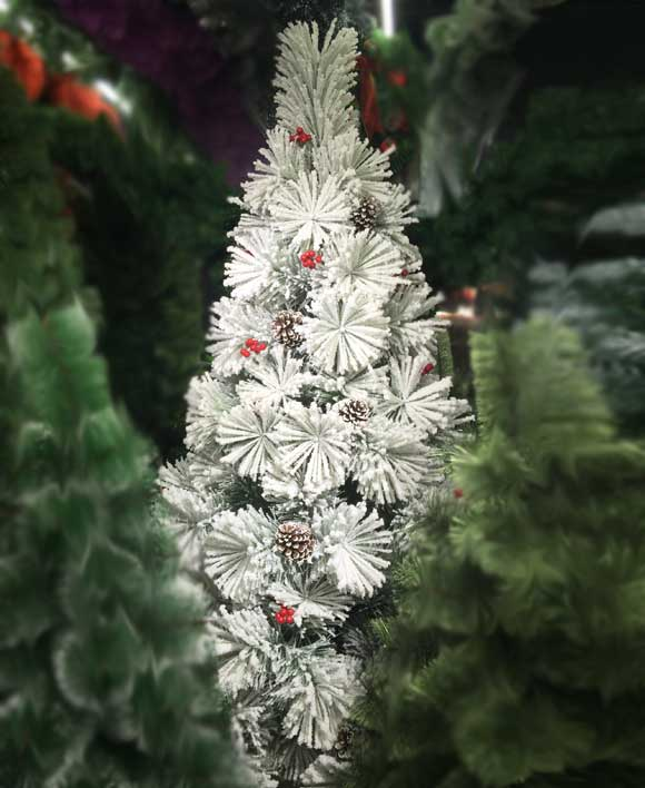 8 Feet Artificial Snow Pine Christmas Tree With Pines Berries