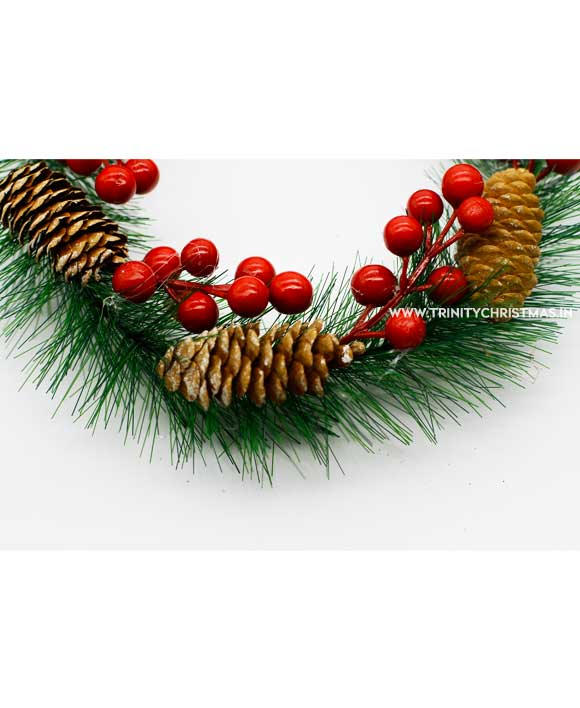 Traditional Christmas Wreath with red berries and pines